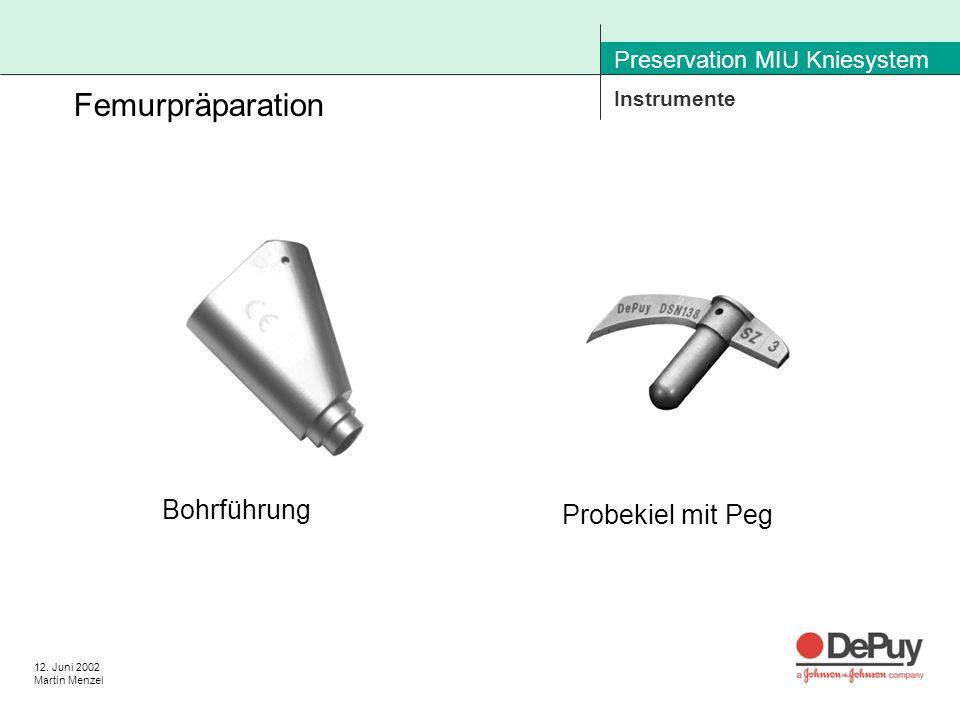 12. Juni 2002 Martin Menzel Preservation MIU Kniesystem Instrumente Femurpräparation Bohrführung Probekiel mit Peg