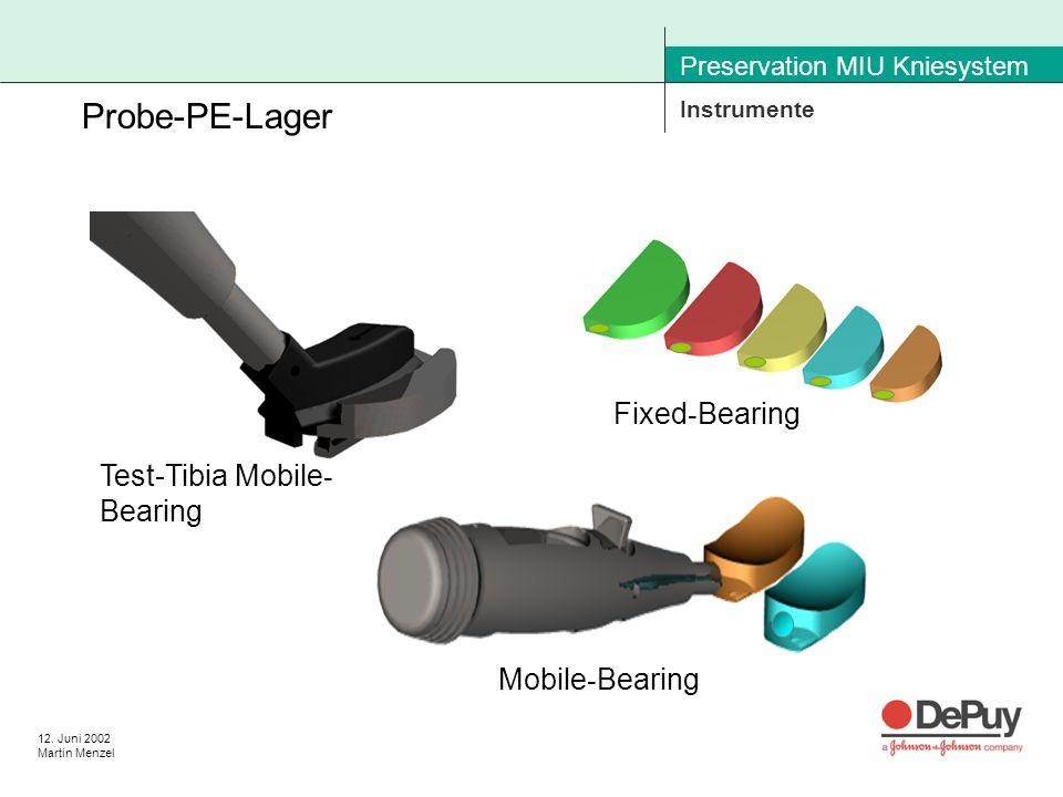 12. Juni 2002 Martin Menzel Preservation MIU Kniesystem Instrumente Probe-PE-Lager Fixed - Bearing Mobile - Bearing Test-Tibia Mobile - Bearing