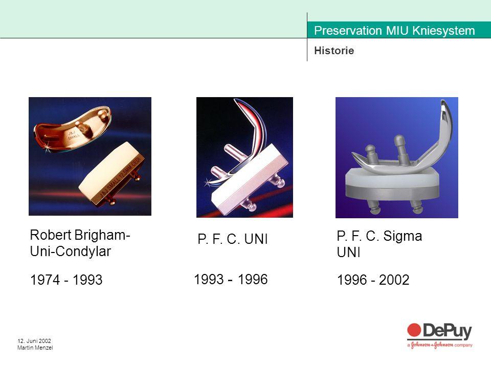 12. Juni 2002 Martin Menzel Preservation MIU Kniesystem Historie Robert Brigham- Uni-Condylar P.