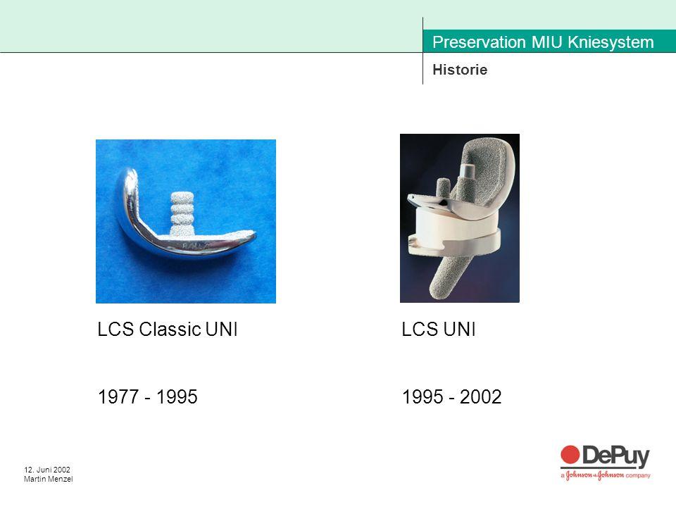 12. Juni 2002 Martin Menzel Preservation MIU Kniesystem Historie LCS UNI 1995 - 2002 LCS Classic UNI 1977 - 1995