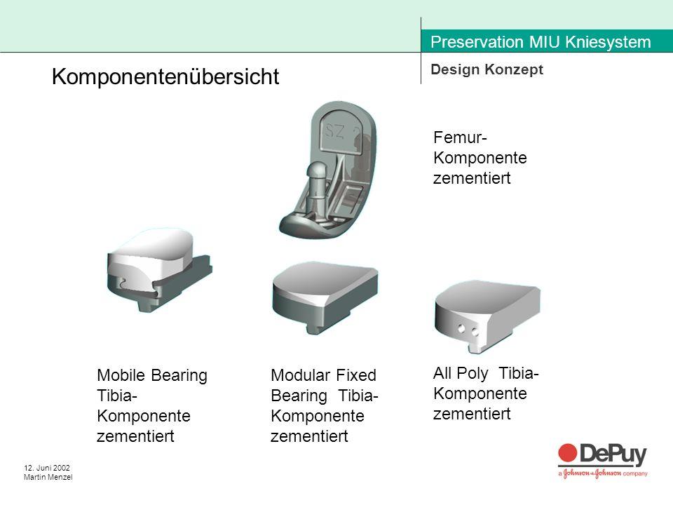 12. Juni 2002 Martin Menzel Preservation MIU Kniesystem Design Konzept Femur- Komponente zementiert Mobile Bearing Tibia- Komponente zementiert Modula