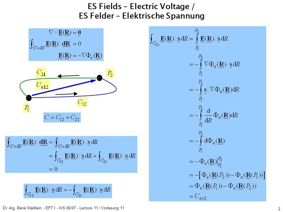 Dr.-Ing. René Marklein - EFT I - WS 06/07 - Lecture 11 / Vorlesung 11 2 ES Fields – Electric Voltage / ES Felder – Elektrische Spannung