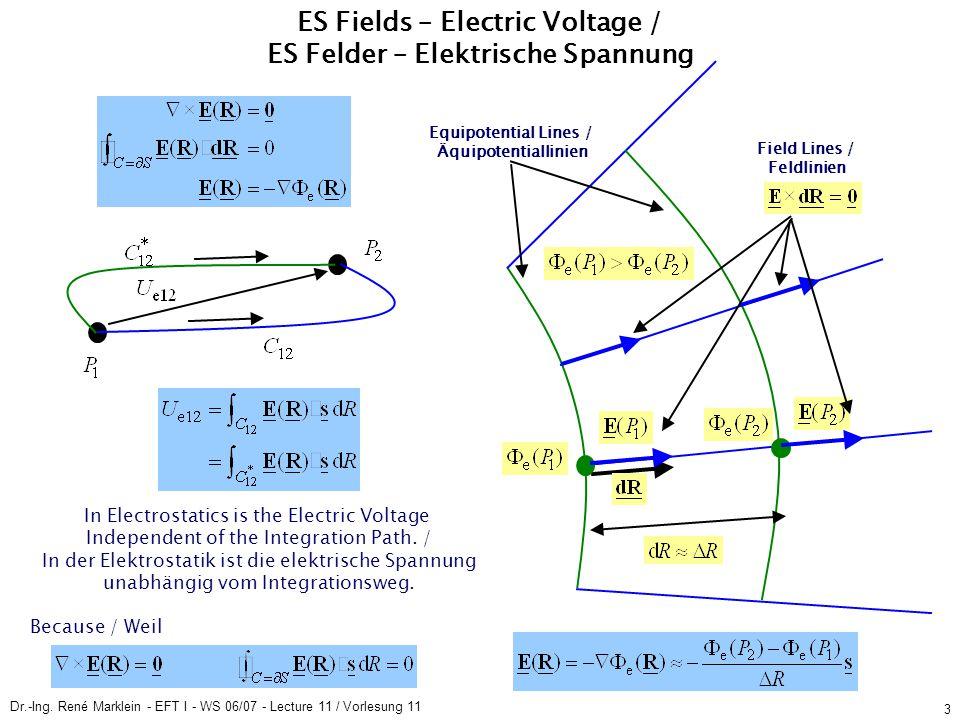 Dr.-Ing. René Marklein - EFT I - WS 06/07 - Lecture 11 / Vorlesung 11 3 ES Fields – Electric Voltage / ES Felder – Elektrische Spannung In Electrostat