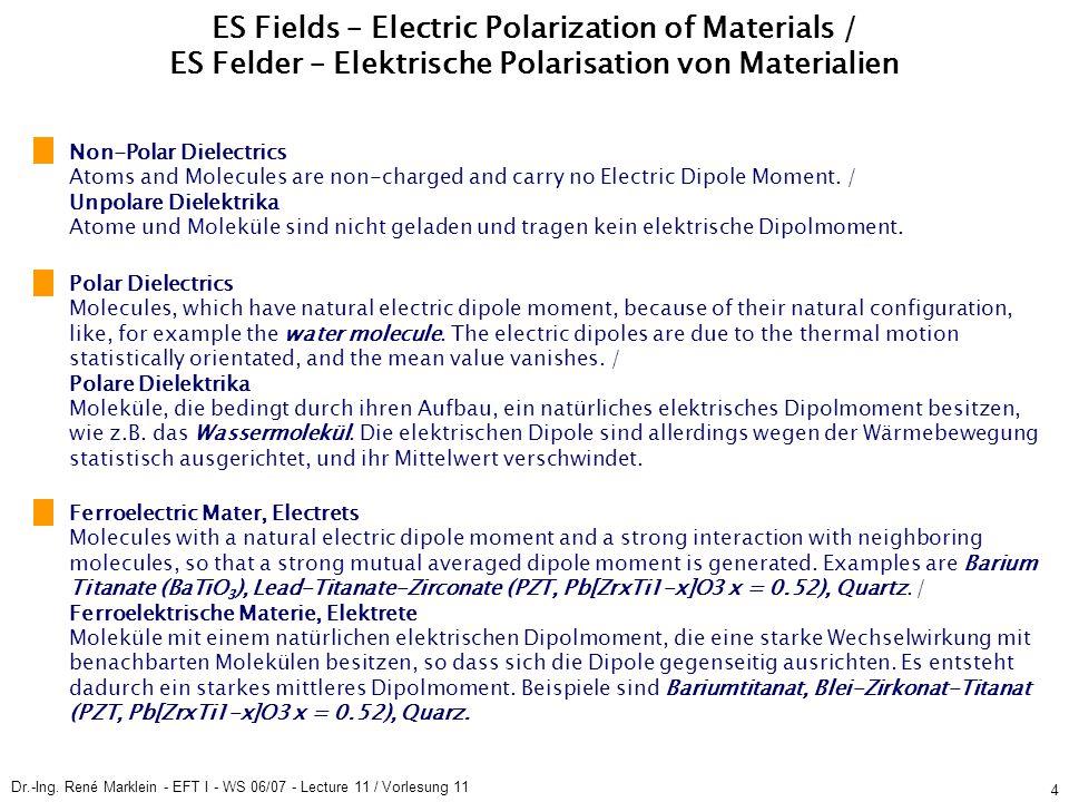 Dr.-Ing. René Marklein - EFT I - WS 06/07 - Lecture 11 / Vorlesung 11 4 ES Fields – Electric Polarization of Materials / ES Felder – Elektrische Polar