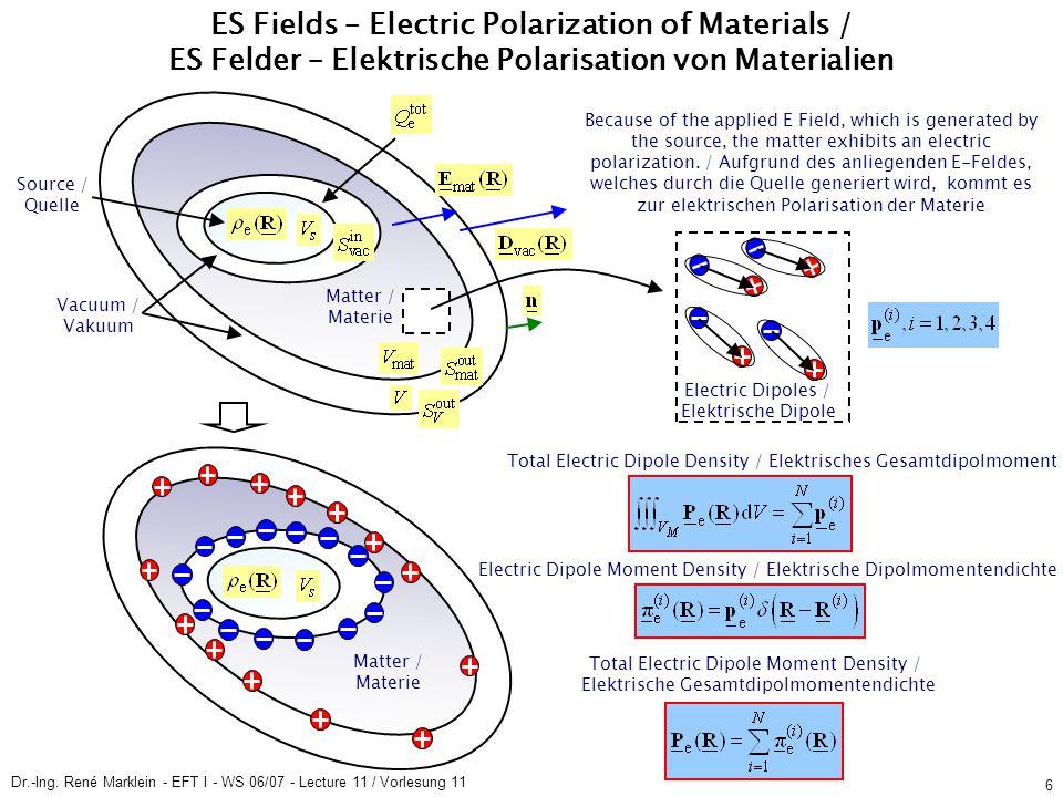 Dr.-Ing. René Marklein - EFT I - WS 06/07 - Lecture 11 / Vorlesung 11 6 ES Fields – Electric Polarization of Materials / ES Felder – Elektrische Polar