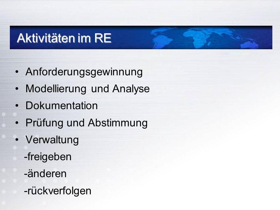 Aktivitäten im RE Anforderungsgewinnung Modellierung und Analyse Dokumentation Prüfung und Abstimmung Verwaltung -freigeben -änderen -rückverfolgen