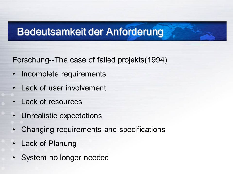 Bedeutsamkeit der Anforderung Bedeutsamkeit der Anforderung Forschung--The case of failed projekts(1994) Incomplete requirements Lack of user involvem
