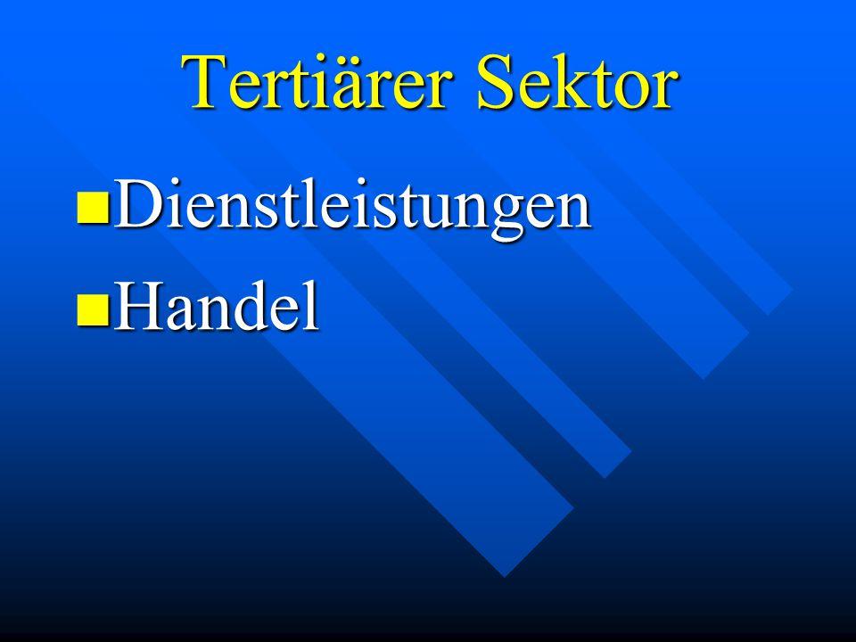 Tertiärer Sektor Dienstleistungen Dienstleistungen Handel Handel