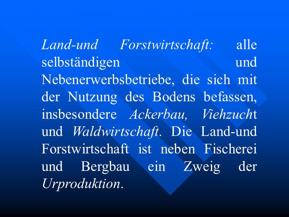 Land-und Forstwirtschaft: alle selbständigen und Nebenerwerbsbetriebe, die sich mit der Nutzung des Bodens befassen, insbesondere Ackerbau, Viehzucht