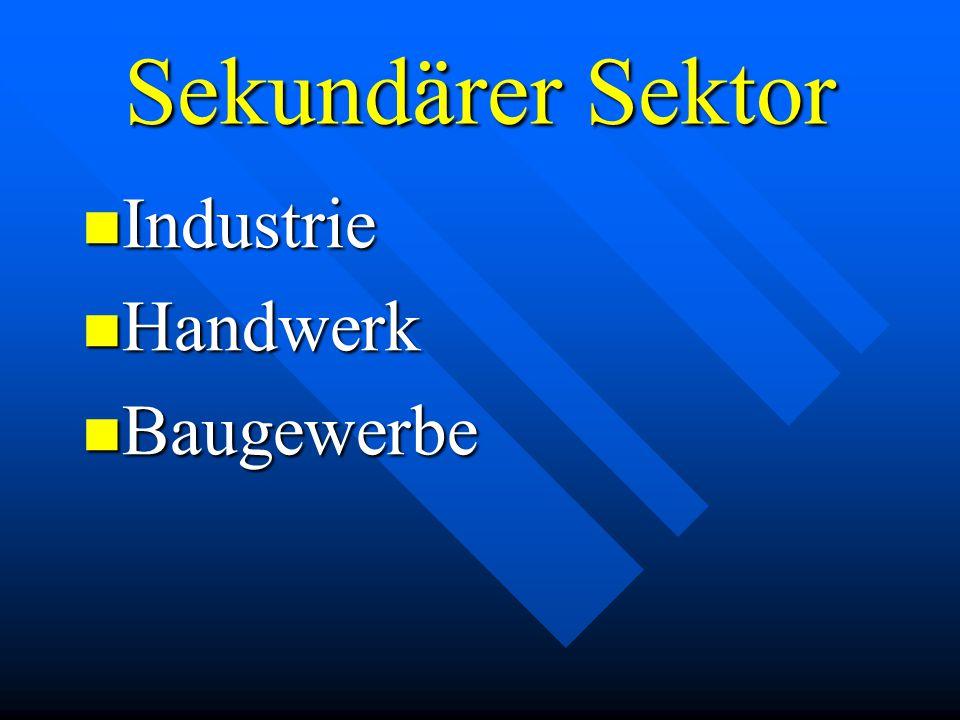 Sekundärer Sektor Industrie Industrie Handwerk Handwerk Baugewerbe Baugewerbe