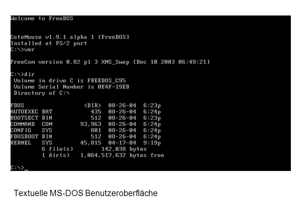 Textuelle MS-DOS Benutzeroberfläche