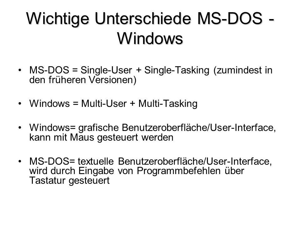 Wichtige Unterschiede MS-DOS - Windows MS-DOS = Single-User + Single-Tasking (zumindest in den früheren Versionen) Windows = Multi-User + Multi-Taskin