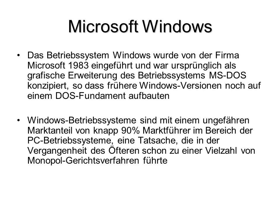 Microsoft Windows Das Betriebssystem Windows wurde von der Firma Microsoft 1983 eingeführt und war ursprünglich als grafische Erweiterung des Betriebs