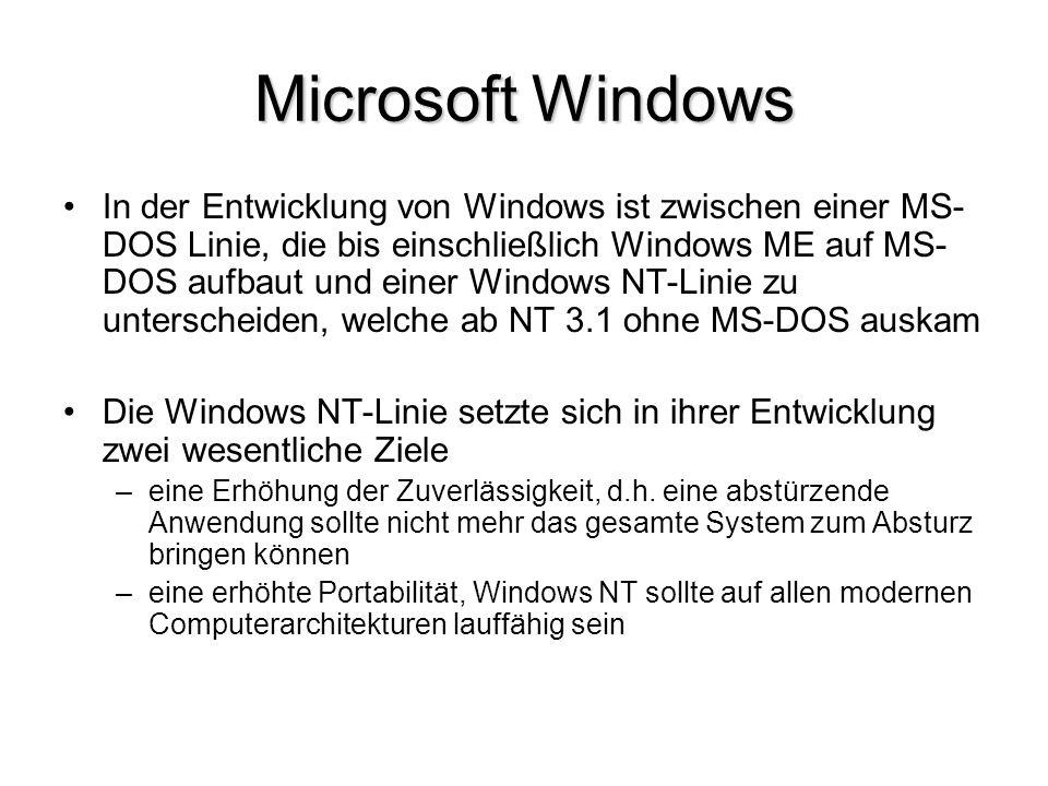 Microsoft Windows In der Entwicklung von Windows ist zwischen einer MS- DOS Linie, die bis einschließlich Windows ME auf MS- DOS aufbaut und einer Win