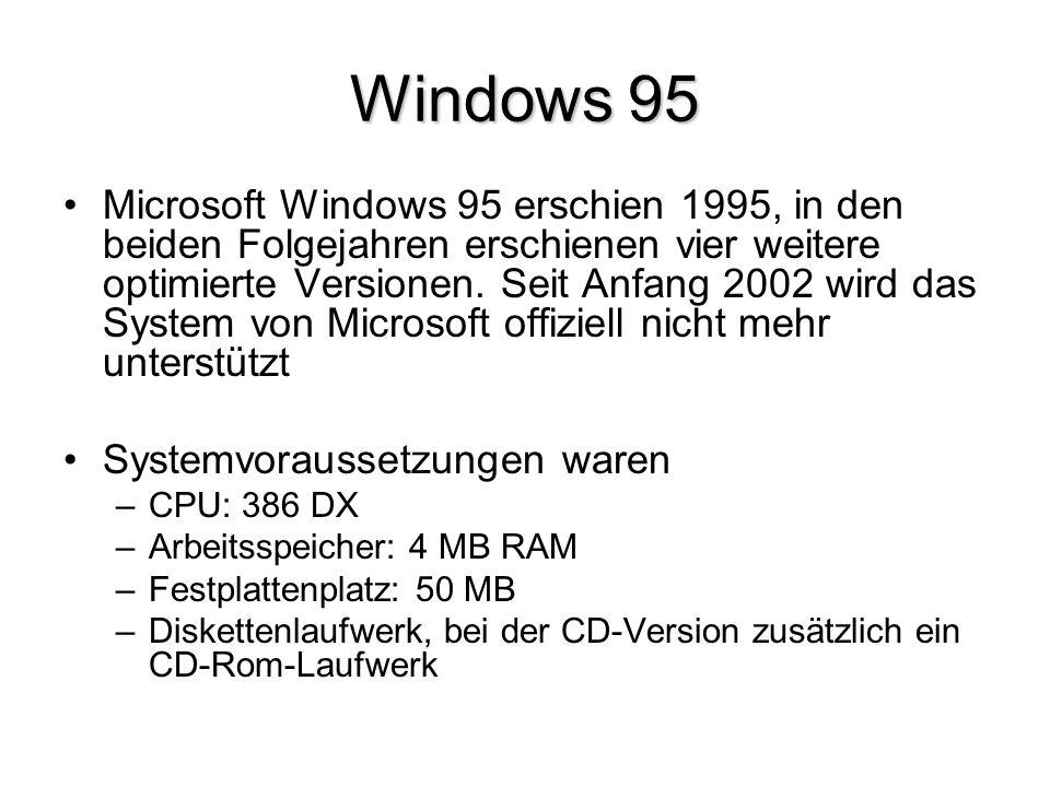 Windows 95 Microsoft Windows 95 erschien 1995, in den beiden Folgejahren erschienen vier weitere optimierte Versionen. Seit Anfang 2002 wird das Syste