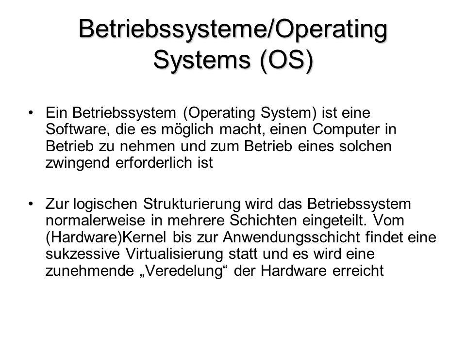 Betriebssysteme/Operating Systems (OS) Ein Betriebssystem (Operating System) ist eine Software, die es möglich macht, einen Computer in Betrieb zu neh