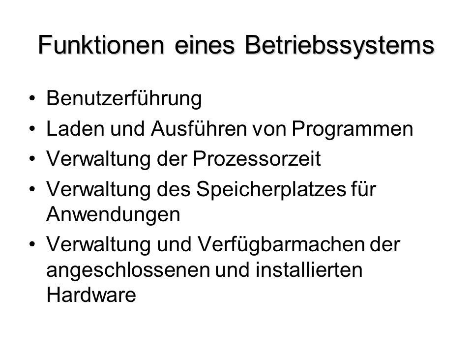 Funktionen eines Betriebssystems Benutzerführung Laden und Ausführen von Programmen Verwaltung der Prozessorzeit Verwaltung des Speicherplatzes für An