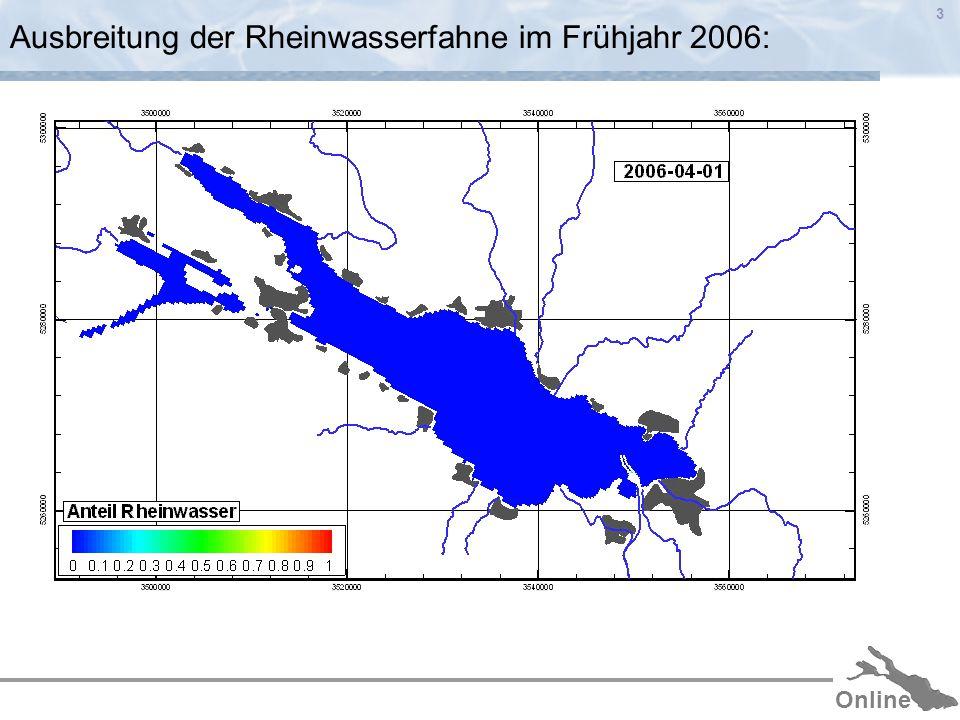 Online 3 Ausbreitung der Rheinwasserfahne im Frühjahr 2006: