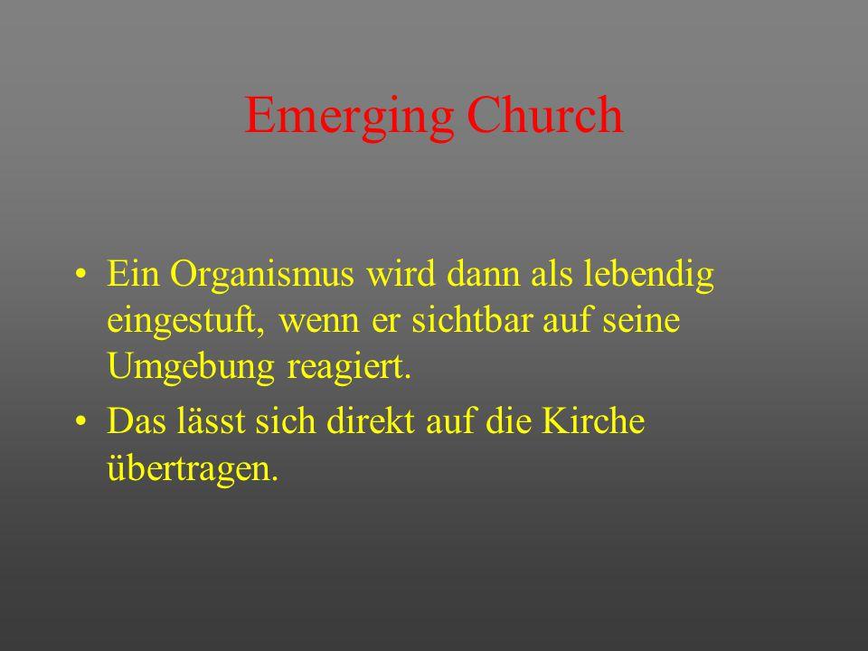 Emerging Church Kennzeichen emergenter Systeme Offenheit Anpassungsfähigkeit Lernbereitschaft Dezentralisierung Basisorientierung