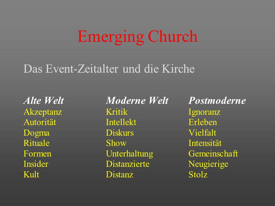 """Emerging Church Die Zeiten und die Kirche Alte WeltKlassischer Gottesdienst Moderne WeltOffener Gottesdienst Postmoderne""""Emerging church"""