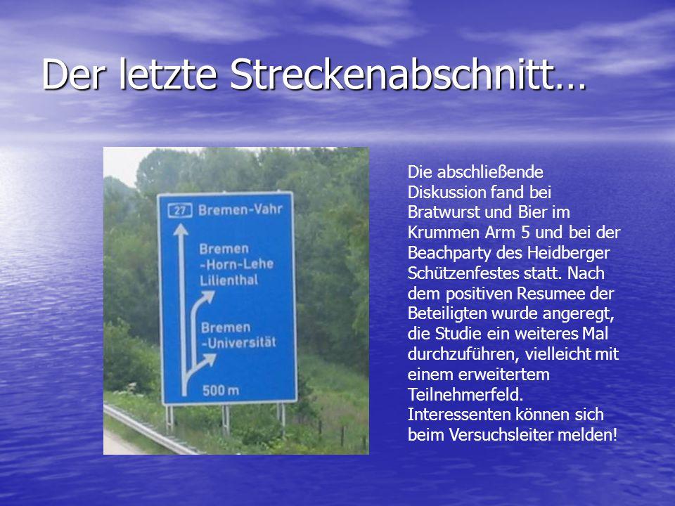 Der letzte Streckenabschnitt… Die abschließende Diskussion fand bei Bratwurst und Bier im Krummen Arm 5 und bei der Beachparty des Heidberger Schützenfestes statt.
