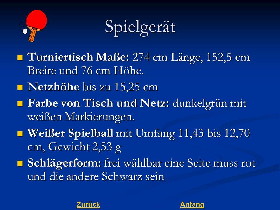 ZurückAnfangSpielgerät Turniertisch Maße: 274 cm Länge, 152,5 cm Breite und 76 cm Höhe.