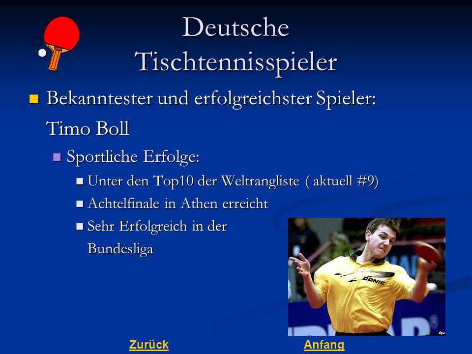 ZurückAnfang Deutsche Tischtennisspieler Bekanntester und erfolgreichster Spieler: Bekanntester und erfolgreichster Spieler: Timo Boll Sportliche Erfo