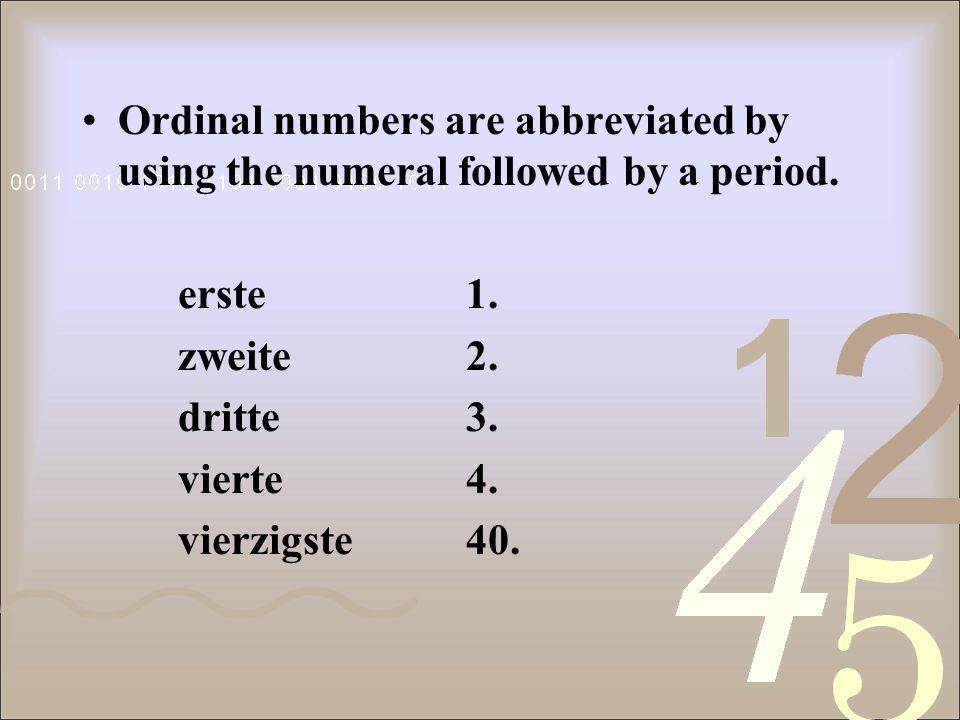 firsterste secondzweite thirddritte fourthvierte fifthfünfte sixthsechste seventhsiebte twentiethzwanzigste