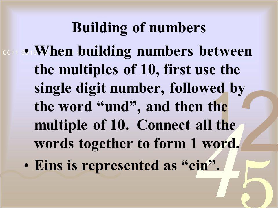 Multiples of 10 10 zehn 20 zwanzig 30 dreißig 40 vierzig 50 fünfzig 60 sechzig 70 siebzig 80 achtzig 90 neunzig 100 hundert