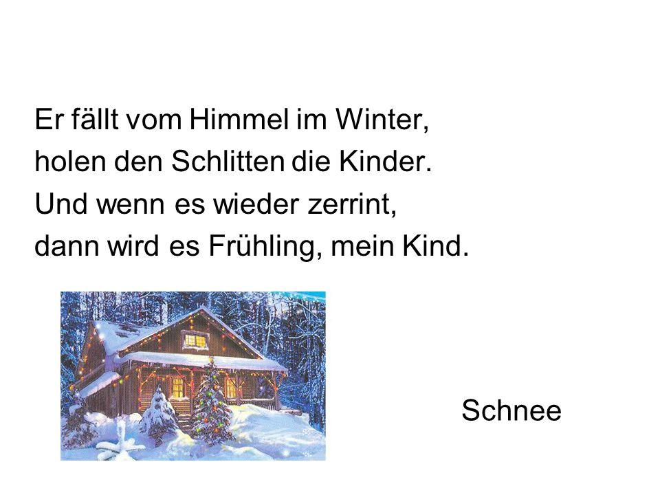 Schnee Er fällt vom Himmel im Winter, holen den Schlitten die Kinder.