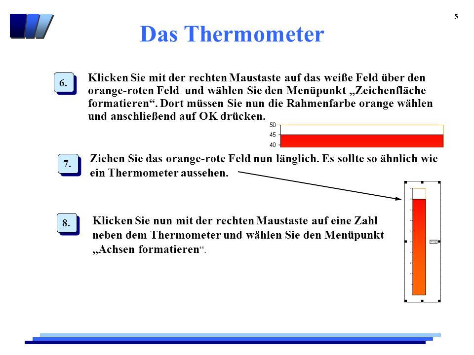 """Das Thermometer 5 Klicken Sie mit der rechten Maustaste auf das weiße Feld über den orange-roten Feld und wählen Sie den Menüpunkt """"Zeichenfläche formatieren ."""