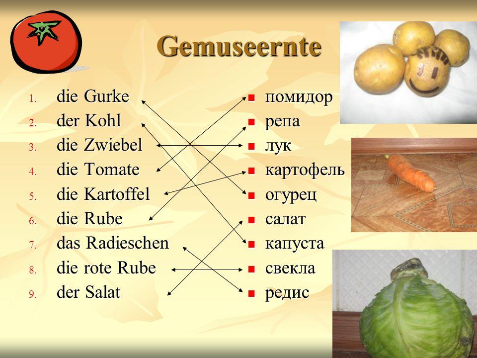Obsternte 1. der Apfel 2. die Birne 3. die Pflaume 4. die Weintraube 5. der Pfirsich 6. die Wassermelone 7. die Banane 8. die Melone 9. die Apfelsine