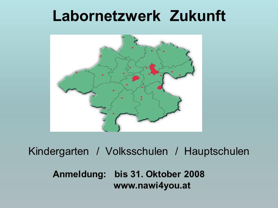 Labornetzwerk Zukunft Kindergarten / Volksschulen / Hauptschulen Anmeldung: bis 31. Oktober 2008 www.nawi4you.at