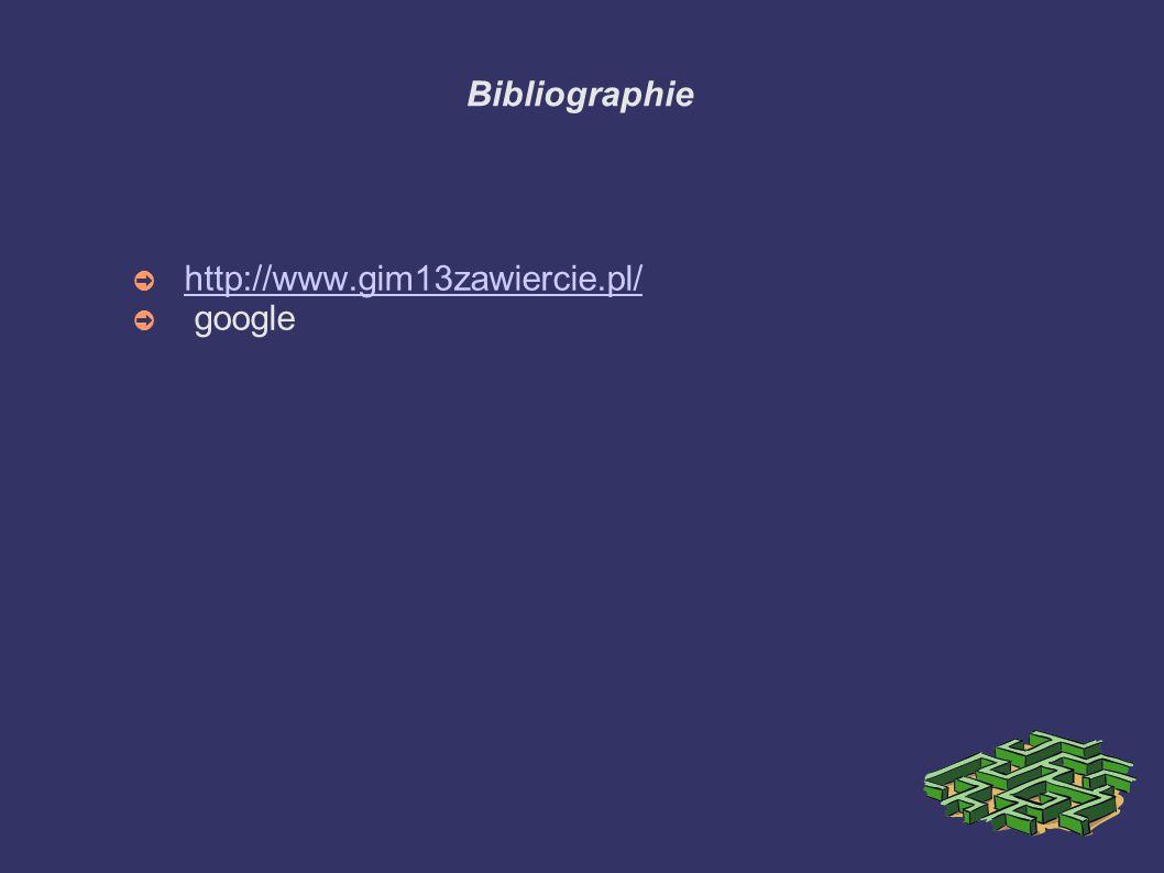 Bibliographie ➲ http://www.gim13zawiercie.pl/ http://www.gim13zawiercie.pl/ ➲ google