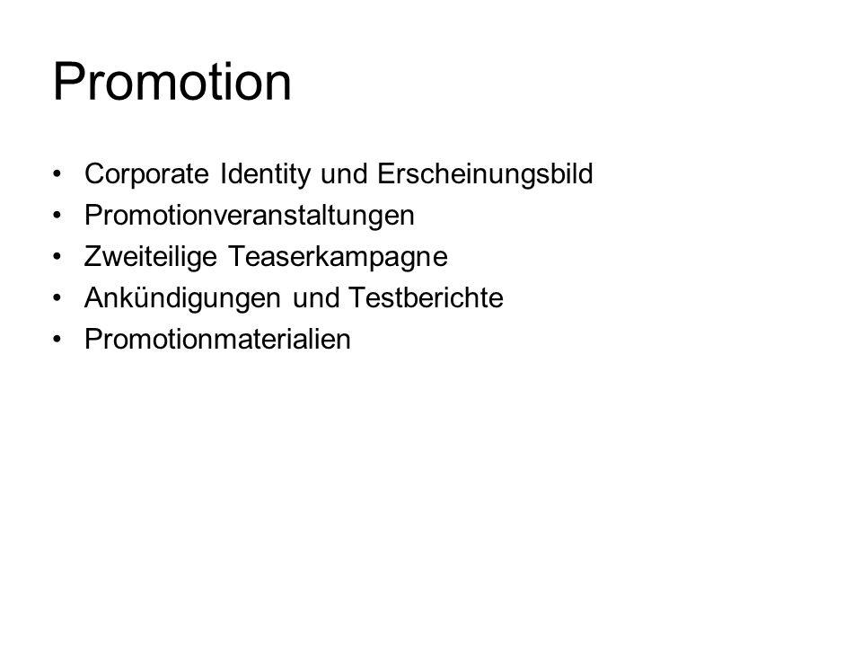 Promotion Corporate Identity und Erscheinungsbild Promotionveranstaltungen Zweiteilige Teaserkampagne Ankündigungen und Testberichte Promotionmaterial