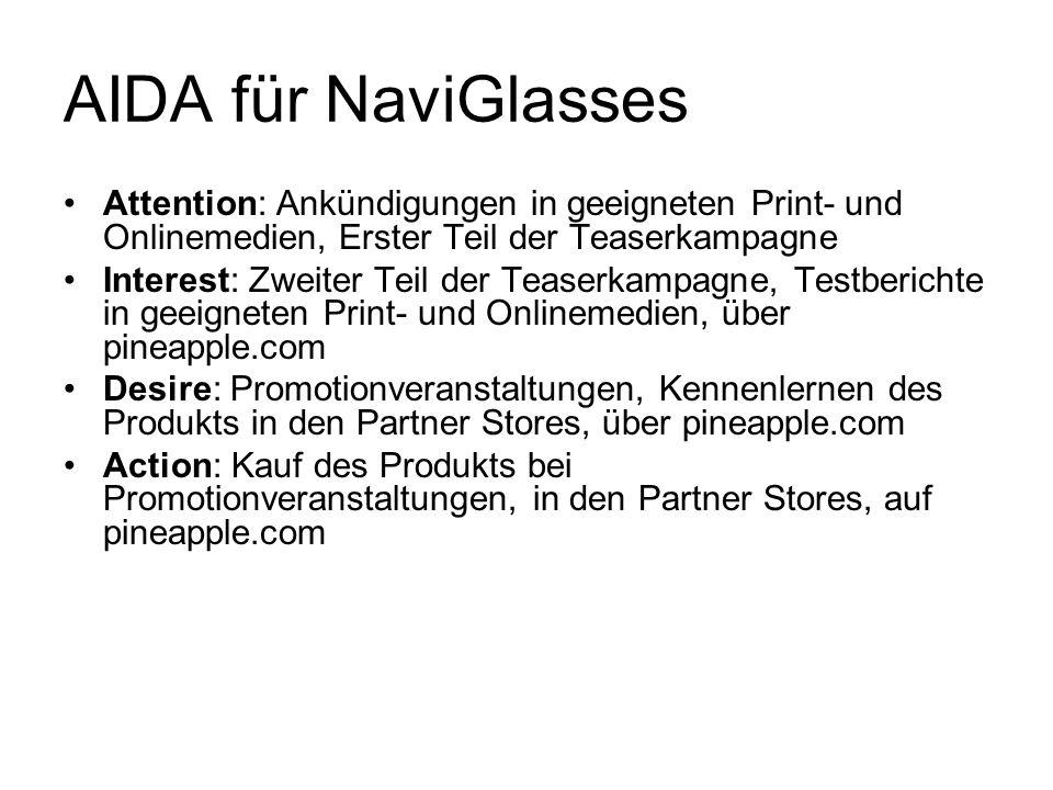 AIDA für NaviGlasses Attention: Ankündigungen in geeigneten Print- und Onlinemedien, Erster Teil der Teaserkampagne Interest: Zweiter Teil der Teaserk