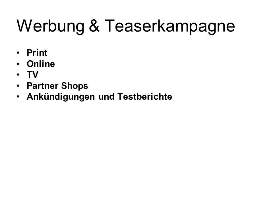 Werbung & Teaserkampagne Print Online TV Partner Shops Ankündigungen und Testberichte