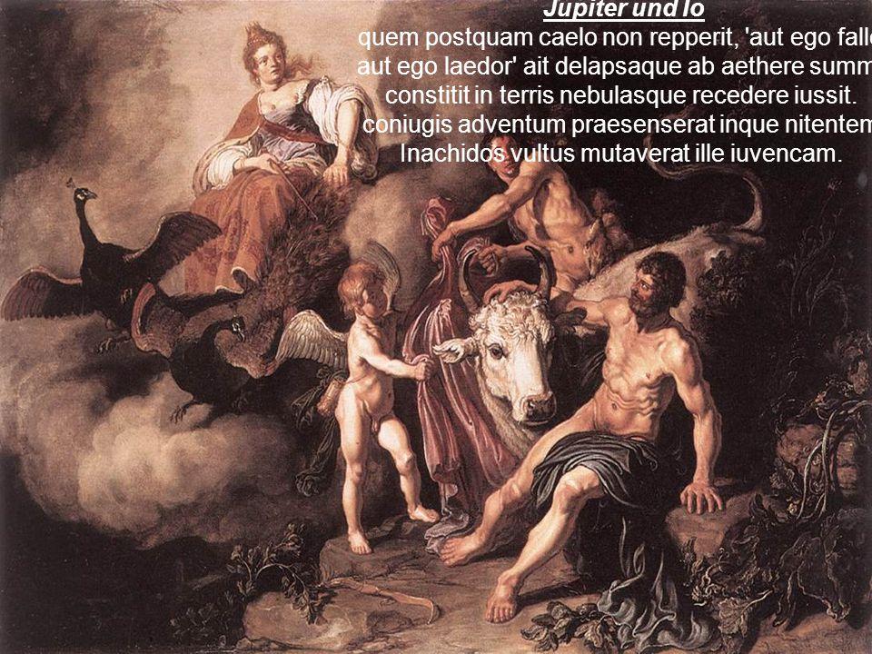 Jupiter und Io quem postquam caelo non repperit, 'aut ego fallor aut ego laedor' ait delapsaque ab aethere summo constitit in terris nebulasque recede