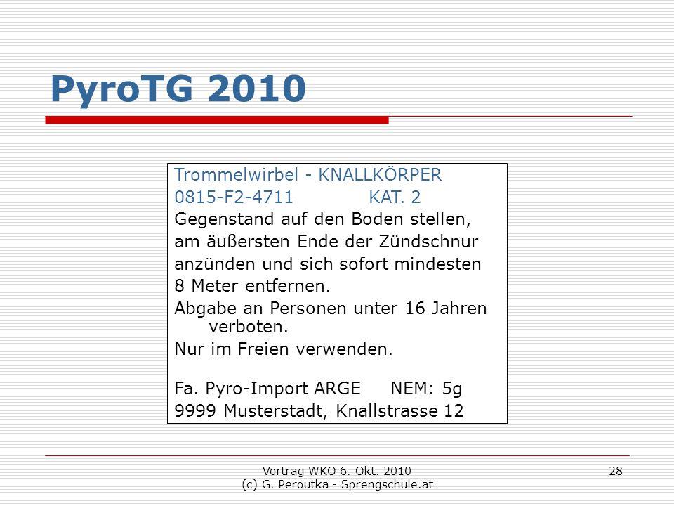 Vortrag WKO 6. Okt. 2010 (c) G. Peroutka - Sprengschule.at 28 PyroTG 2010 Trommelwirbel - KNALLKÖRPER 0815-F2-4711 KAT. 2 Gegenstand auf den Boden ste