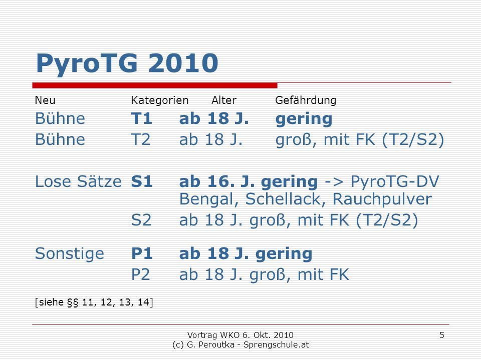 Vortrag WKO 6. Okt. 2010 (c) G. Peroutka - Sprengschule.at 5 PyroTG 2010 Neu Kategorien AlterGefährdung BühneT1ab 18 J.gering BühneT2ab 18 J.groß, mit