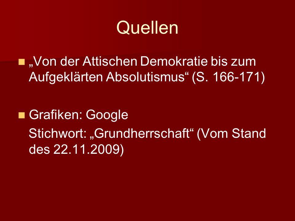 """Quellen """"Von der Attischen Demokratie bis zum Aufgeklärten Absolutismus (S."""