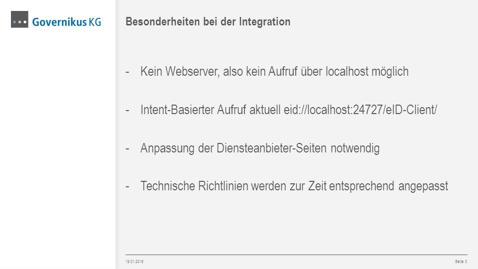 19.01.2015 Seite 3 - Kein Webserver, also kein Aufruf über localhost möglich - Intent-Basierter Aufruf aktuell eid://localhost:24727/eID-Client/ - Anp