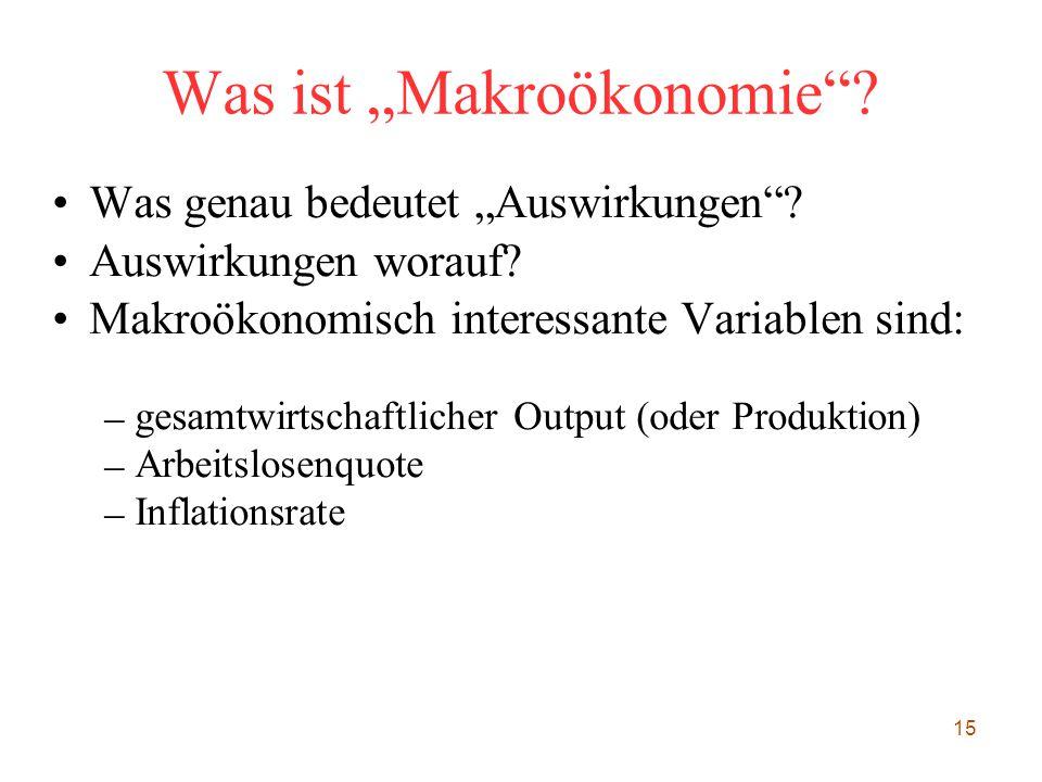 """15 Was ist """"Makroökonomie""""? Was genau bedeutet """"Auswirkungen""""? Auswirkungen worauf? Makroökonomisch interessante Variablen sind: – gesamtwirtschaftlic"""