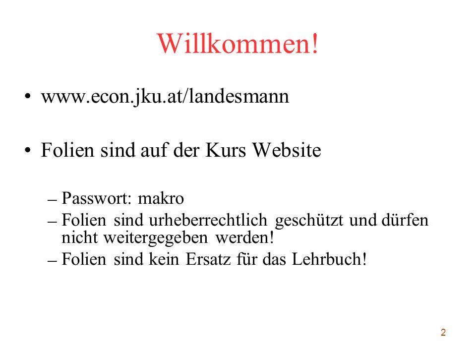2 Willkommen! www.econ.jku.at/landesmann Folien sind auf der Kurs Website – Passwort: makro – Folien sind urheberrechtlich geschützt und dürfen nicht