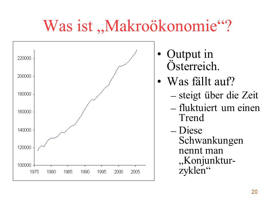 """20 Was ist """"Makroökonomie""""? Output in Österreich. Was fällt auf? – steigt über die Zeit – fluktuiert um einen Trend – Diese Schwankungen nennt man """"Ko"""