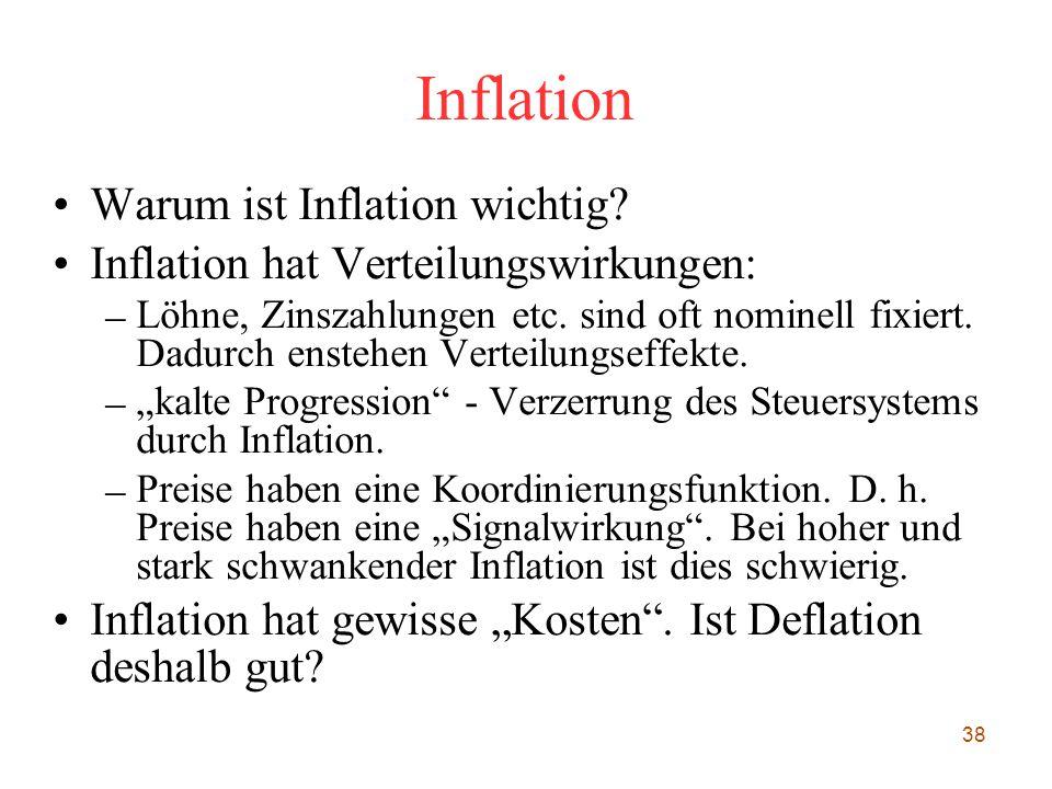 38 Inflation Warum ist Inflation wichtig? Inflation hat Verteilungswirkungen: – Löhne, Zinszahlungen etc. sind oft nominell fixiert. Dadurch enstehen