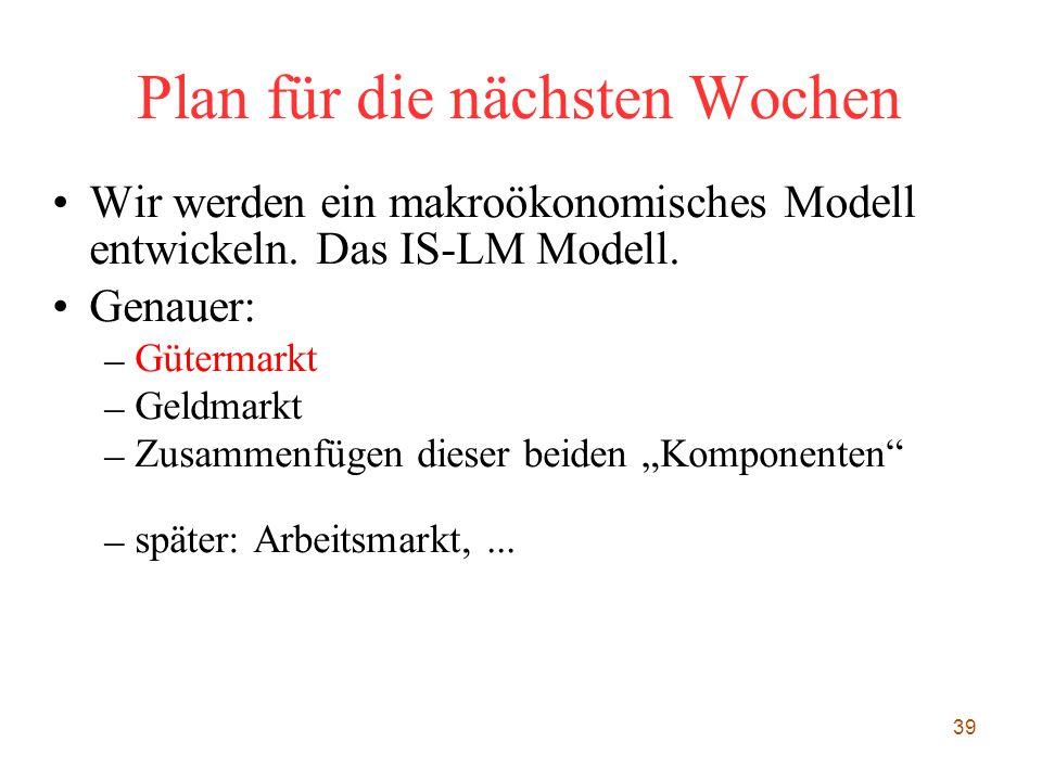 39 Plan für die nächsten Wochen Wir werden ein makroökonomisches Modell entwickeln. Das IS-LM Modell. Genauer: – Gütermarkt – Geldmarkt – Zusammenfüge