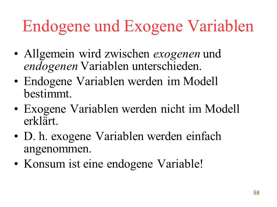 58 Endogene und Exogene Variablen Allgemein wird zwischen exogenen und endogenen Variablen unterschieden. Endogene Variablen werden im Modell bestimmt