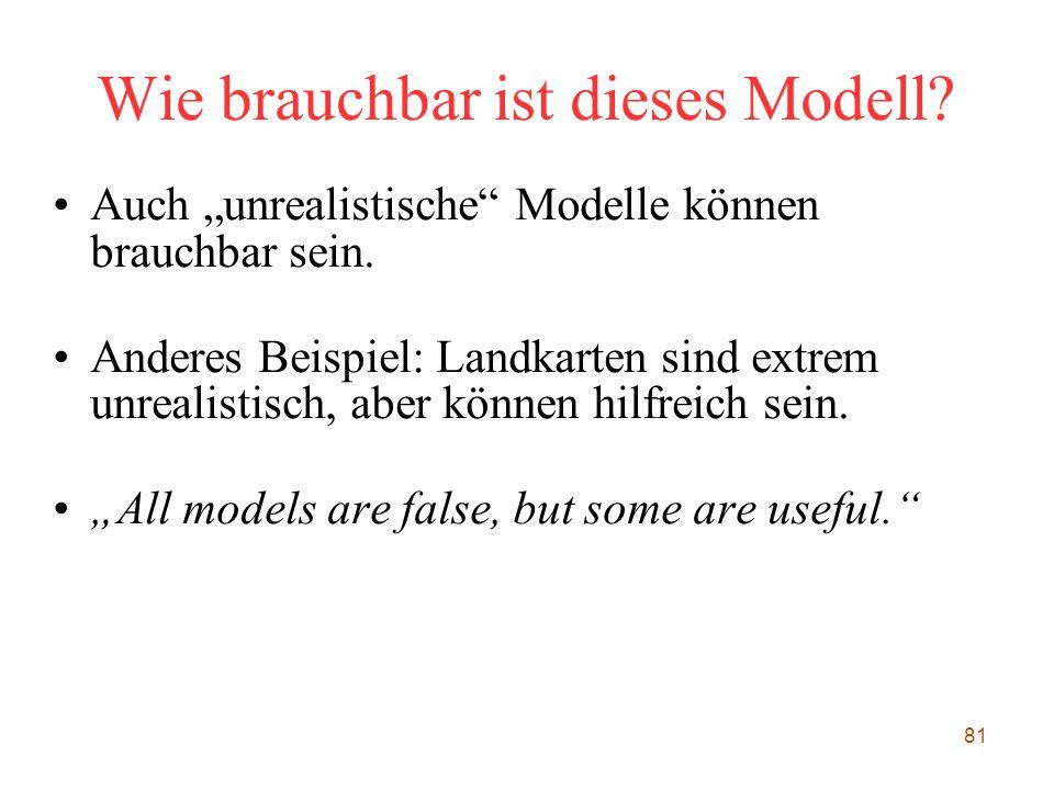 """81 Wie brauchbar ist dieses Modell? Auch """"unrealistische"""" Modelle können brauchbar sein. Anderes Beispiel: Landkarten sind extrem unrealistisch, aber"""
