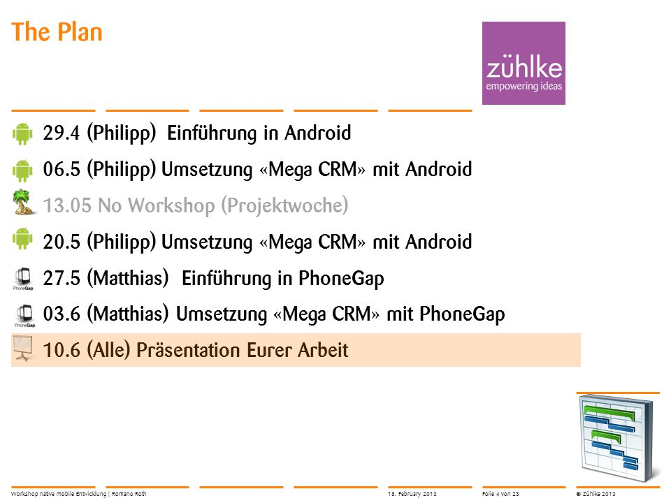 © Zühlke 2013 The Plan 29.4 (Philipp) Einführung in Android 06.5 (Philipp) Umsetzung «Mega CRM» mit Android 13.05 No Workshop (Projektwoche) 20.5 (Philipp) Umsetzung «Mega CRM» mit Android 27.5 (Matthias) Einführung in PhoneGap 03.6 (Matthias) Umsetzung «Mega CRM» mit PhoneGap 10.6 (Alle) Präsentation Eurer Arbeit Workshop native mobile Entwicklung | Romano Roth18.